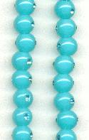 9mm Turquoise Plastic Beads W/RS