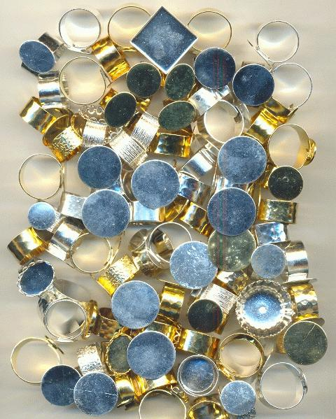 bases flat base rings mixed gold and silver plated ring blanks