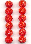 8mm Coral Red RS Shamballa Bead