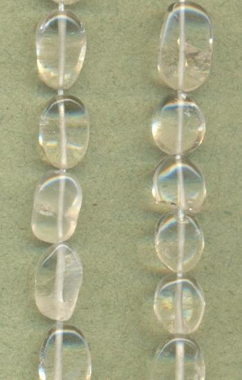 6-8mm Clear Quartz Crystal Oval Beads