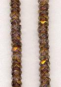 6x2.5 Dark Topaz/Gold Faceted Rondelles