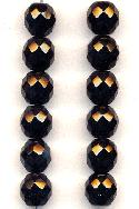 10mm Czech Faceted Black Glass Bead