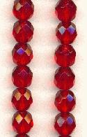 8mm Czech Faceted Siam Ruby Glass Bead