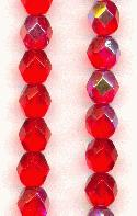6mm Czech Faceted Siam Ruby AB