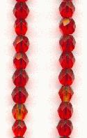 4mm Czech Faceted Siam Ruby Beads
