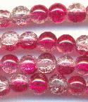 6mm Redish Pink/Clear Crackle Bead