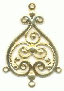 29x22mm 4R Gilt Filigree Drop