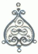 29x22 4R Silver Colored Filigree Drop