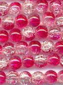 8mm Redish Pink/Clear Crackle Beads