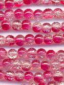 6mm Redish Pink/Clear Crackle Beads