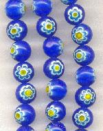 11.5mm Blue/White/Yellow Millefiori