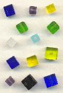 Mixed Glass Cube Beads