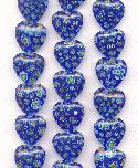 18mm Blue Milifore' Heart Beads
