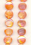 13mm Orange AB MOP Coin Beads