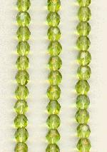 4mm Czech Faceted Olivine Beads