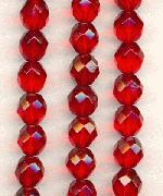 8mm Czech Faceted Ruby Glass Bead