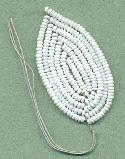 47x25mm White Seed Bead Leaf
