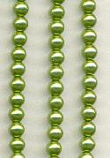 4mm Light Olive Glass Pearl Beads