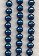 8mm Royal Blue Glass Pearls