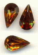 10x6mm Swarovski Smoked Topaz Pear RS
