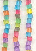 4.5 Mult-Color Frosted Triangle Beads