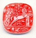20mm Round Square Red Chariot Stones