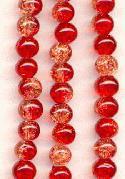 6mm Two Tone Red Crackle Beads
