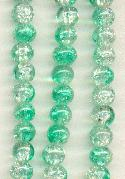 6mm Clear/Blue Green Crackle Beads