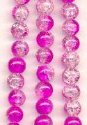 8mm Clear/Fuchsia Crackle Beads