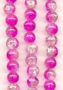 8mm Clear/Hot Pink Crackle Beads
