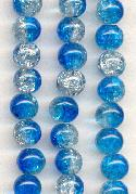 8mm Clear/Capri Blue Crackle Beads