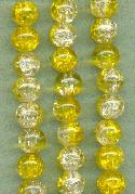 8mm Clear/Yellow Crackle Beads