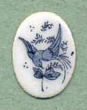 25x18mm White/Blue Enamel Bird Stones