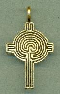 Antique Gold Labyrinth Cross