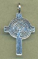 Antique Silver Labyrinth Cross