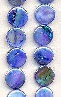 12mm Blue AB MOP Coin Beads