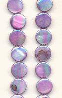 10mm Purple AB MOP Coin Beads