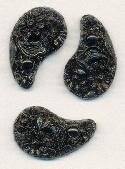 19x12mm Black Comma Shaped Flower Stones