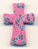 29x22mm Pink Fimo Crosses