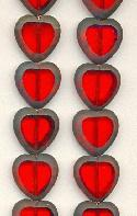 15mm Transparent Ruby/Black Heart Beads