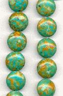 14mm Mosaic Turquoise Coin Beads