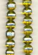 10mm Trans Jonquil/Silver Glass Beads