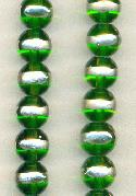 10mm Trans Green/Silver Glass Beads