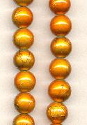 10mm Golden Orange Glass Beads