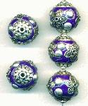 19mm Purple/Silver Fancy Beads