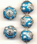 19mm Teal/Silver Fancy Beads