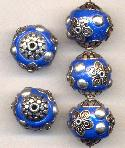 19mm Cobalt Blue/Silver Fancy Beads