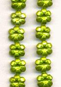 10mm Lime Pearl Plastic Flower Beads