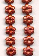 10mm Brick Red Pearl Plastic Flower Bead