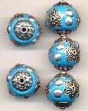 19mm Turquoise/Silver Fancy Beads